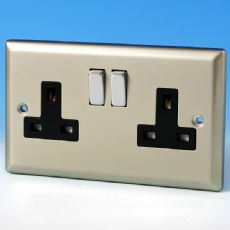 Varilight 2 Gang 13 Amp Switched Electrical Plug Socket Satin Chrome Dec Switch Black Insert XN5DB